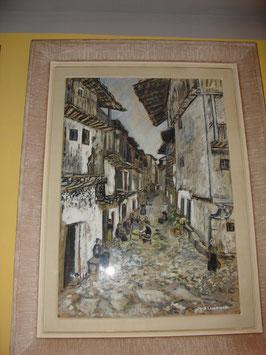 Tableau gouache papier rue de Madrid par X.LAMARQUE 1957