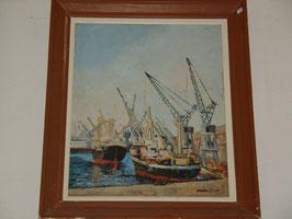 Tableau huile sur bois Port de Marseille par Jo.GIANIGNI en 1975