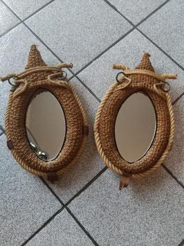 Paire de miroirs en forme de collier de cheval en corde de chanvre vers 1950/60