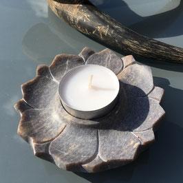 porte bougie et encens lotus en pierre steatite naturelle style marbre