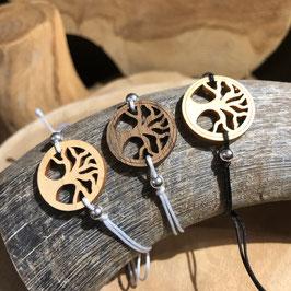 Bracelet ARBRE DE VIE en bois + lacet fin blanc/gris