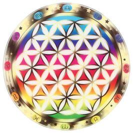 Support en verre fleur de vie multicolore chakra avec signes du zodiaque Ø 9 cm