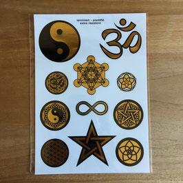 Set d'Autocollants symboles classiques - ohm aum - lotus - infini - fleur de vie - peace & love