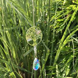 Mobile Feng Shui - Arbre de vie avec papillons argenté - goutte crystal