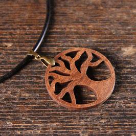 Pendentif Arbre de Vie en bois NOYER (foncé) + fil cuir