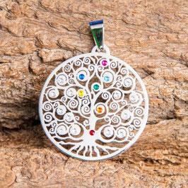 Pendentif Arbre de vie - avec pierres chakra - 35 mm