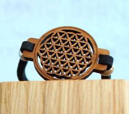 Bracelet FLEUR DE VIE en bois NOYER + lacet magnétique noir