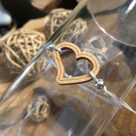 Bracelet COEUR en bois + lacet fin blanc/gris