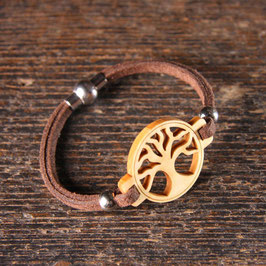 Bracelet ARBRE DE VIE en bois PIN + lacet magnétique brun
