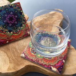 Kit de 4 sous verre en céramique Mandala