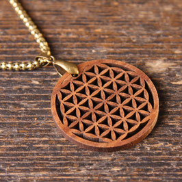 Pendentif Fleur de Vie en bois NOYER et chaîne en chrome dorée