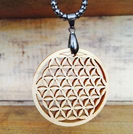 Pendentif Fleur de Vie en bois de PIN et chaîne en chrome