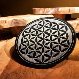 Brûle porte encens pierre à savon Fleur de Vie rond