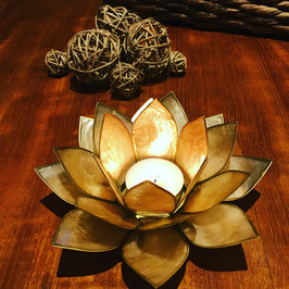 Eclairage d'ambiance Lotus beige/fumé bords or