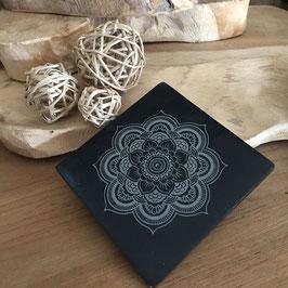 Brûle encens plaque pierre à savon Mandala carré