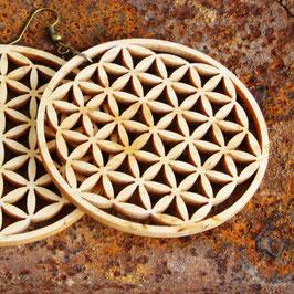 Boucle d'oreilles Fleur de Vie en bois de PIN large