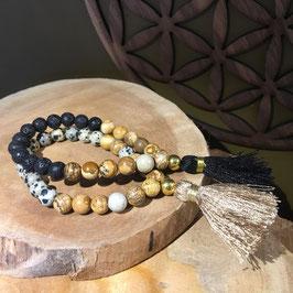 Mala bracelet Boho bicolor pierres naturelles floche beige ou noire
