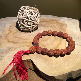 Bracelet Mala Rudraksha  10mm à floche rouge