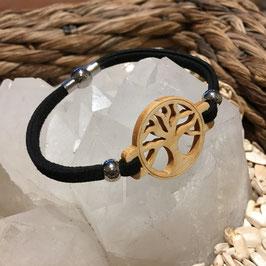 Bracelet ARBRE DE VIE en bois PIN + lacet magnétique NOIR