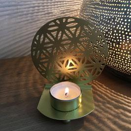 Fleur de Vie tealight BOULE antique doré de style métal (kit de 2)