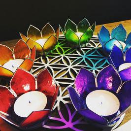 Chakra set  7 bougies - Lotus argentés - ou à la pièce