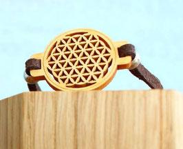 Bracelet FLEUR DE VIE en bois PIN + lacet magnétique brun