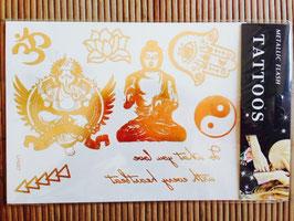 TATOUAGES DORE  EPHEMERES - Buddha - ohm - lotus