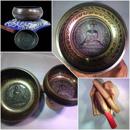 Bol Chantant - gravé avec Bouddha (décoration à l'intérieur et à l'extérieur)