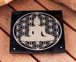 Brûle encens plaque pierre à savon Fleur de Vie & Bouddha