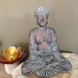 Bouddha Assis Style Brunze couleur cuivre