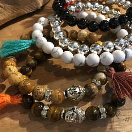 Mala bracelet bouddha argenté ou pierres naturelles