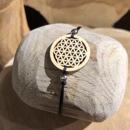 Bracelet FLEUR DE VIE en bois lacet fin blanc/gris