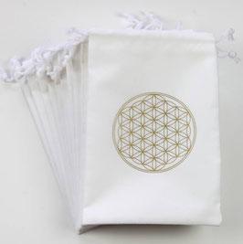 Pochette / bourse sac pour cartes Tarot - Fleur de Vie - blanche