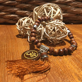 "Tikra ""OHM - AUM - OM"" bois naturel avec 27 perles"
