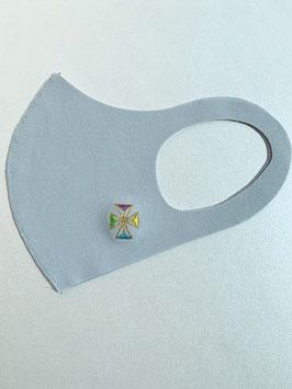 お守りマスク(こま カラフル黄)ーK01