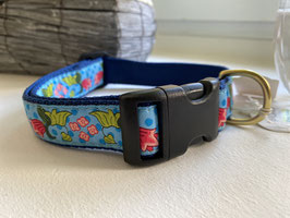 Up Country Dog Collar Flowers blue*