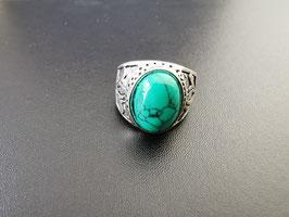 Metalen ring met groene steen - G4