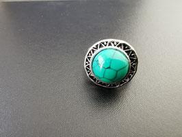Metalen ring met groen steen - G2