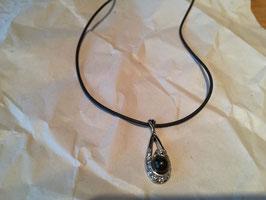 Halskette 50 cm mit Schungit-Perle im Anhänger + Ring mit Schungit-Perle
