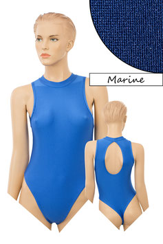 Damen Stringbody ovaler Rückenausschnitt Kragen Druckverschluss marine