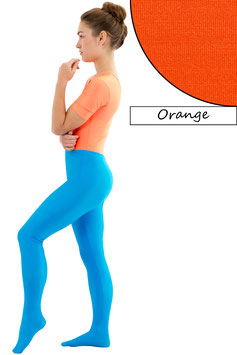 Damen Leggings mit Fuß orange