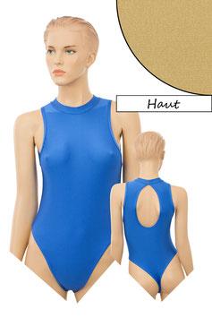 Damen Stringbody ovaler Rückenausschnitt Kragen Druckverschluss haut