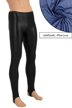 Herren Wetlook Leggings mit Steg marine
