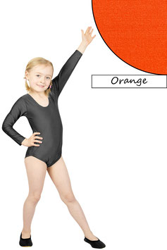 Kinder Gymnastikanzug lange Ärmel orange
