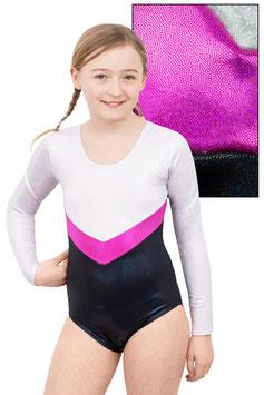 """Holo Kinder Gymnastikanzug """"Annabell"""" weiß-magenta-schwarz"""
