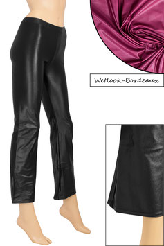 Damen Wetlook Jazzpant bordeaux