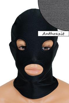 Kopfhaube (Maske) anthrazit, mit Löchern für Mund und Augen