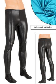 Herren Wetlook Leggings mit Fuss türkis
