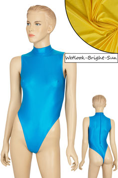 Damen Wetlook Stringbody ohne Ärmel Kragen Rücken-RV bright-sun