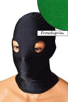 Kopfhaube (Maske) froschgrün, mit Löchern für Augen